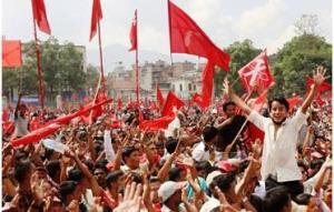 cheering communist leader